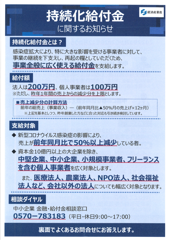 新型コロナウイルス対策「持続化給付金」に関するお知らせ