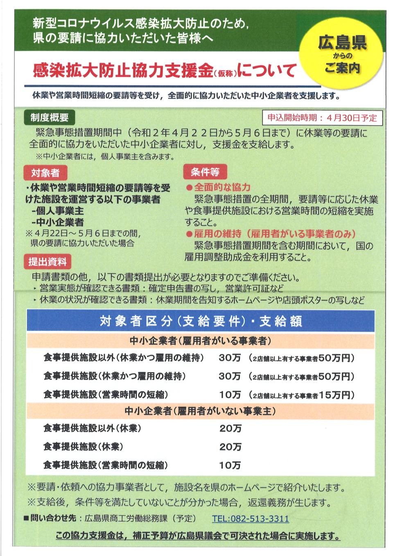 「感染拡大防止協力支援金」(仮称)に関するお知らせ